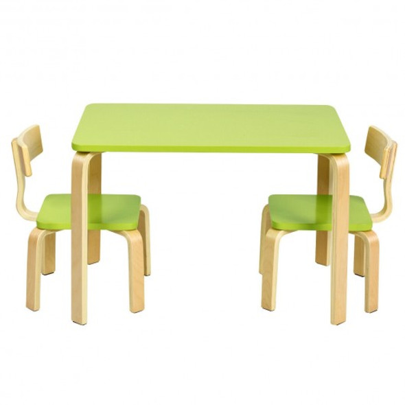 3 Piece Kids Wooden Activity Table and 2 Chairs Set-Green
