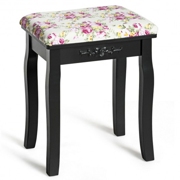 Vanity Wood Dressing Stool Padded Piano Seat with Rose Cushion-Black