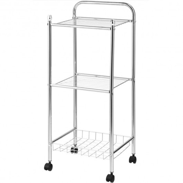 3-Tier Multifunction Mesh Wire Rolling Cart