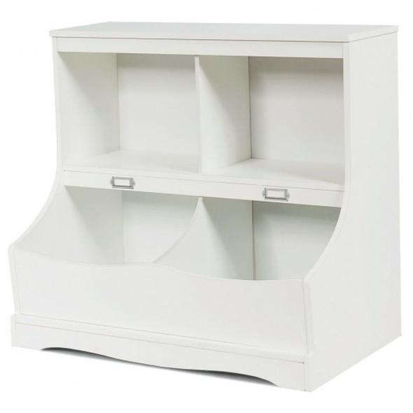 Kids Floor Cabinet Multi-Functional Bookcase -White