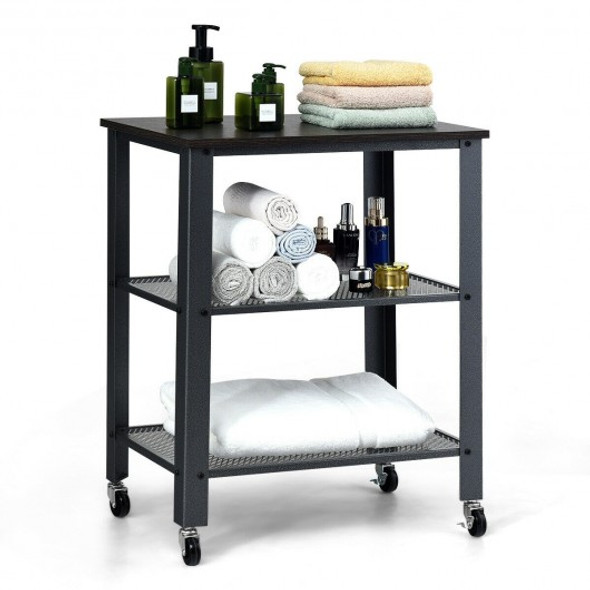 3-Tier Kitchen Utility  Industrial Cart with Storage-Black