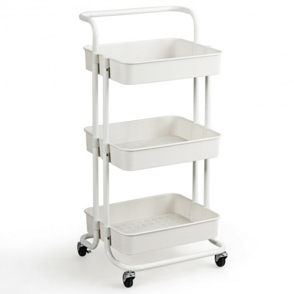 3-Tier Utility Cart Storage Rolling Cart with Casters-White