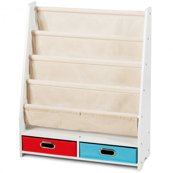 Kids Book and Toys Organizer Shelves-Beige