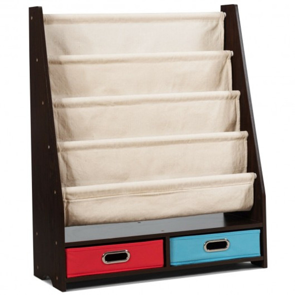 Kids Book and Toys Organizer Shelves-Coffee