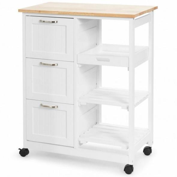 Rolling Kitchen Island Utility Storage Cart -White