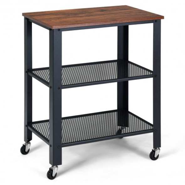 3-Tier Kitchen Utility  Industrial Cart with Storage-Brown