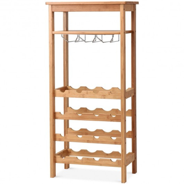 16 Bottles Bamboo Storage Wine Rack with Glass Hanger - COHW59431NA