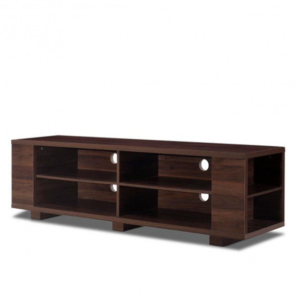 "59"" Console Storage Entertainment Media Wood TV Stand-Walnut"