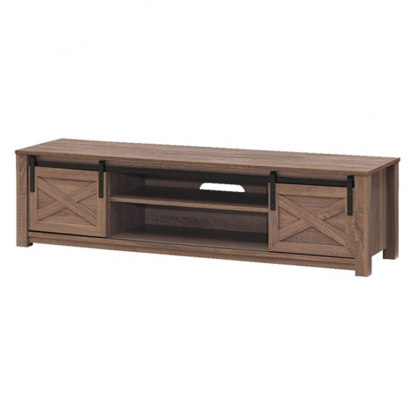 "65"" Flat Sliding Barn Door TV Stand-Coffee"