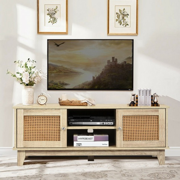 TV Stand Console Cabinet with Rattan Doors-Natural Wood