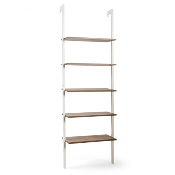 5-Tier Metal Frame Ladder Shelf -White