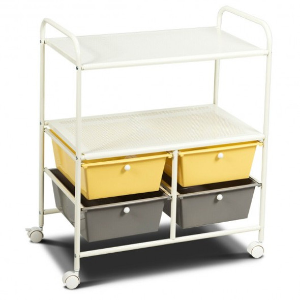 4 Drawers Shelves Rolling Storage Cart Rack-Yellow