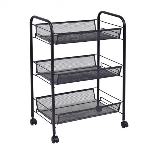 Black/Gray 3 Tier Storage Rack Trolley Cart-Black