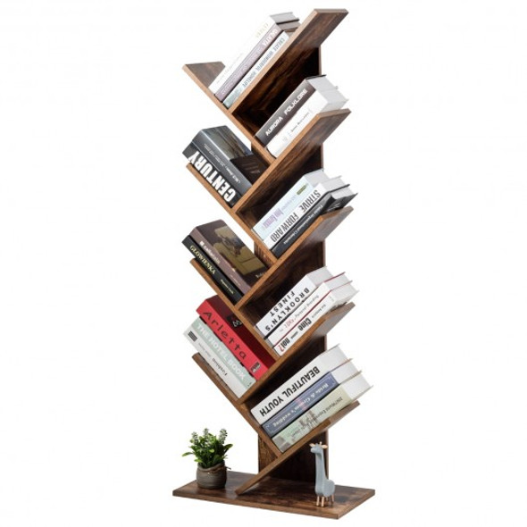 8-Tier Free Standing Tree Bookshelf-Coffee