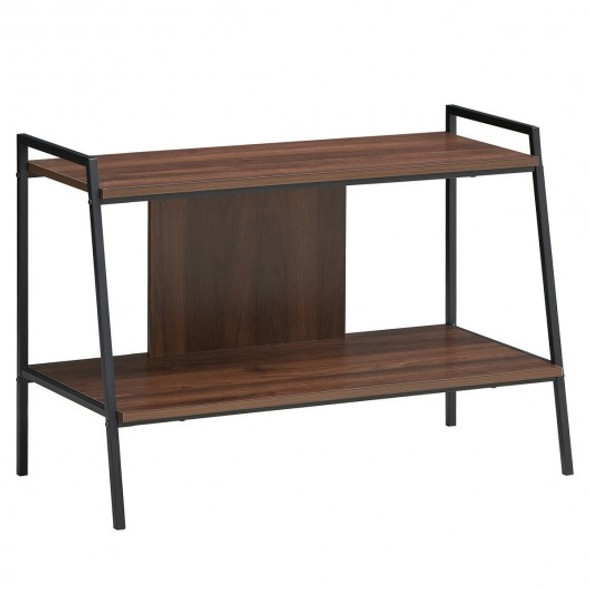 2-Tier TV Stand w/ Shelves & Metal Frame