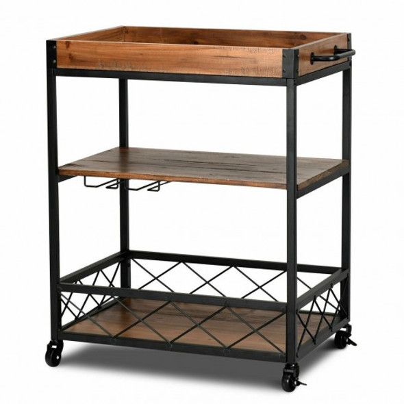 3 Tier Serving Dining Storage Shelf Rolling Kitchen Trolley - COHW64305