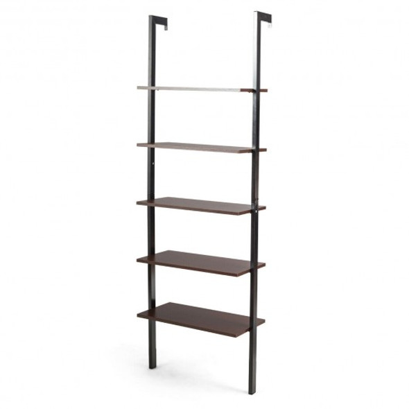 5-Tier Metal Frame Ladder Shelf -Brown