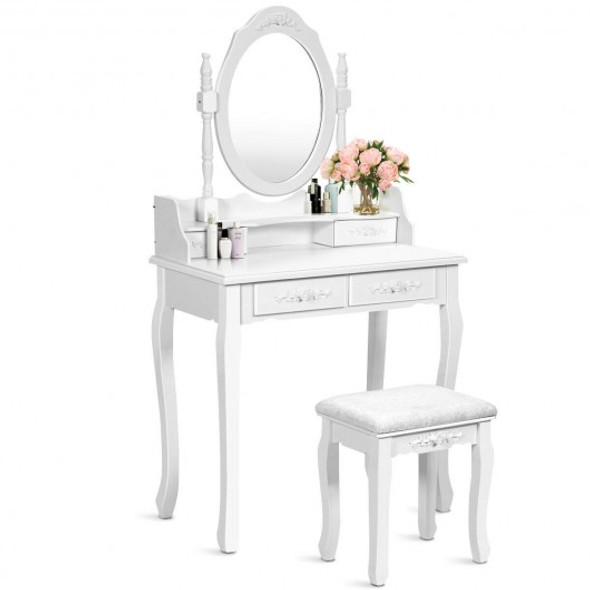 Vanity Table Set with Oval Mirror and 4 Drawers-White