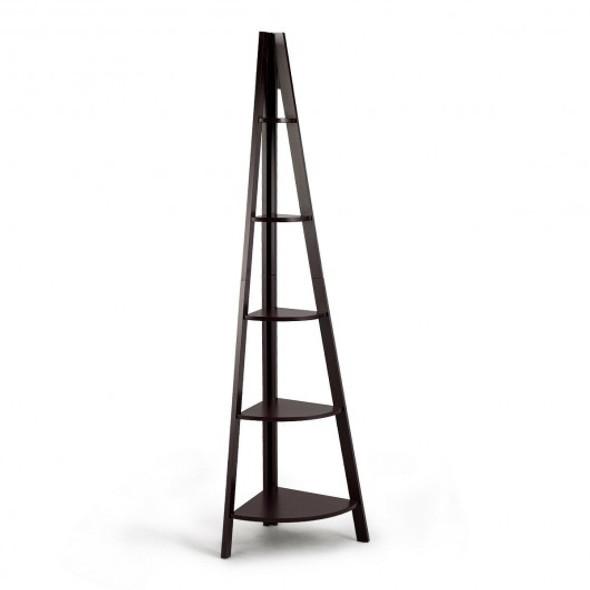 5 Tier Floor Corner Stand Ladder Shelves Bookshelf-Brown
