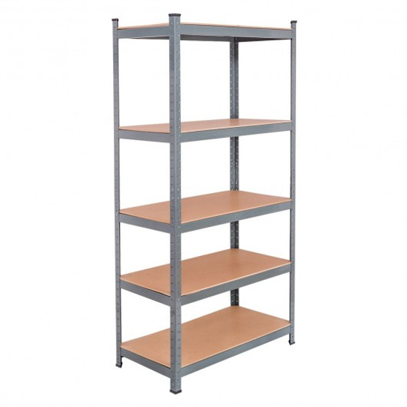"71"" Heavy Duty Steel Adjustable 5 Level Storage Shelves-Gray"