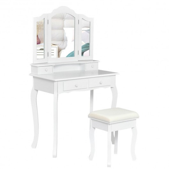 4 Drawers Mirrored Jewelry Wood Vanity Dressing Table w/ Stool-White