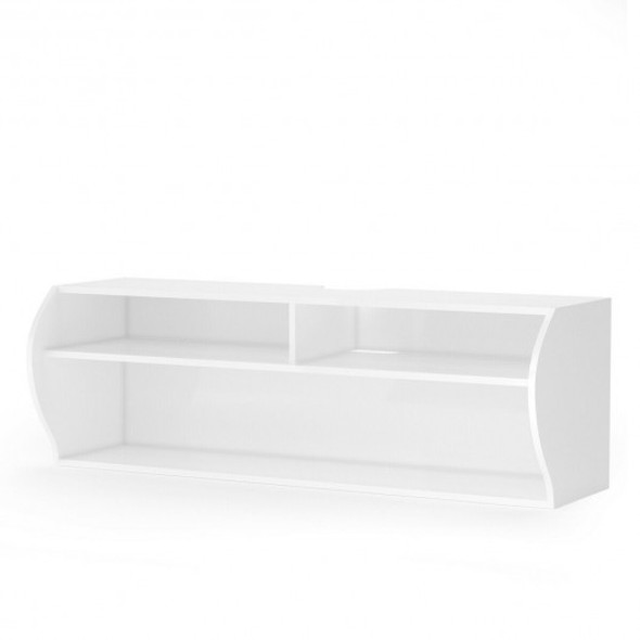"48.5"" 2 Tier Modern Wall Mounted Hanging Floating Shelf-White"