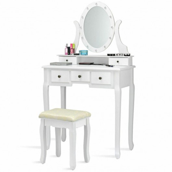 5 Drawers Vanity Table Stool Set with 12-LED Bulbs-White
