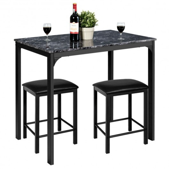 3 Piece Counter Height Dining Set Faux Marble Table-Black