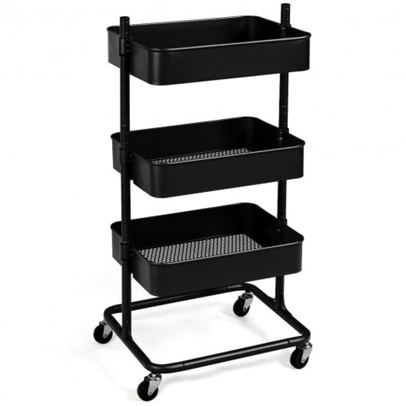 3-Tier Metal Rolling Storage Cart Mobile Organizer with Adjustable Shelves-Black