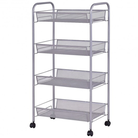 Black/Gray 4 Tier Storage Rack Trolley Cart-Gray