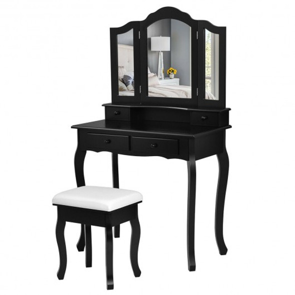 4 Drawers Mirrored Jewelry Wood Vanity Dressing Table w/ Stool-Black