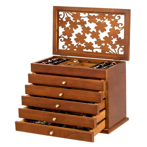 Large Wooden Jewelry Box-Brown