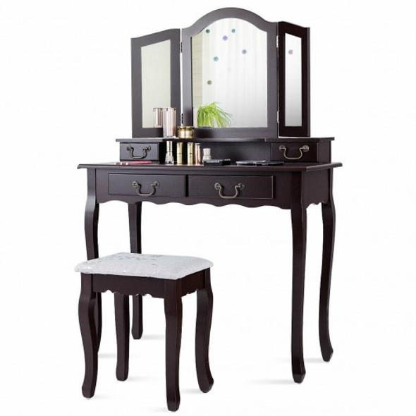 Tri Folding Mirror Makeup Dressing Vanity Set with 4 Drawers-Coffee