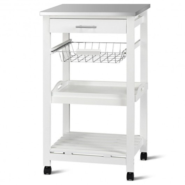 Rolling Kitchen Trolley Storage Basket And Drawers Cart