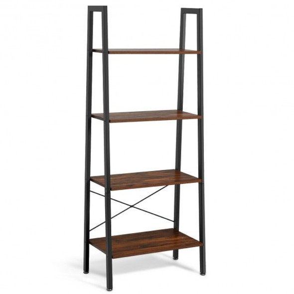 4-Tier Ladder Shelf Bookcase Bookshelf Display Rack Plant Stand-Black