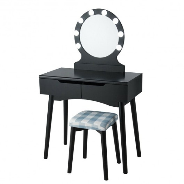 Vanity Makeup Dressing Set Lighted Mirror Touch Switch-Black