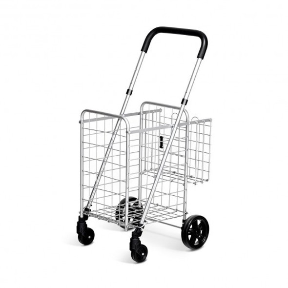 Folding Shopping Cart Basket Rolling Trolley with Adjustable Handle-Silver