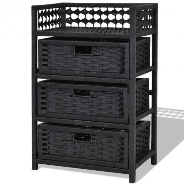 3 Drawers Wicker Baskets Storage Chest Rack-Black