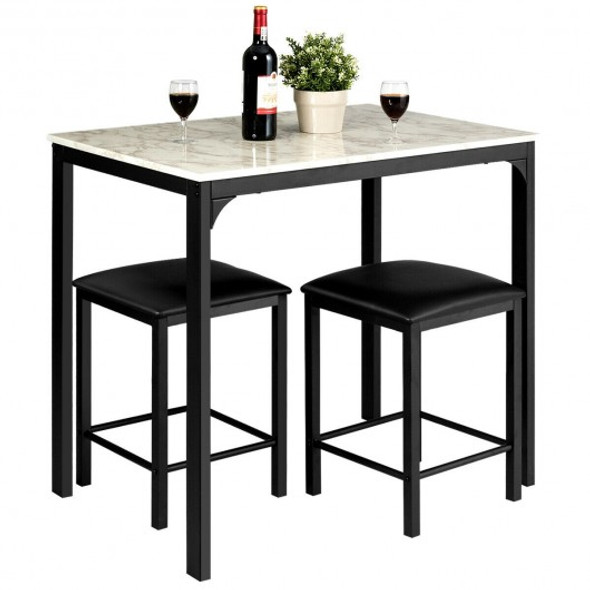 3 Piece Counter Height Dining Set Faux Marble Table-White