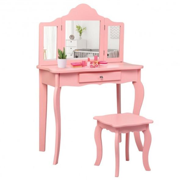 Kids Makeup Dressing Mirror Vanity Table Stool Set-Pink