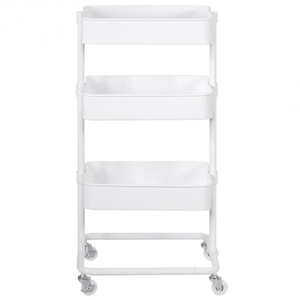 3-Tier Metal Rolling Storage Cart Mobile Organizer with Adjustable Shelves-White