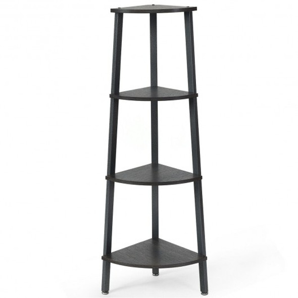 4-Tier Corner Shelf Metal Storage Rack Domestic Bookcase-Silver