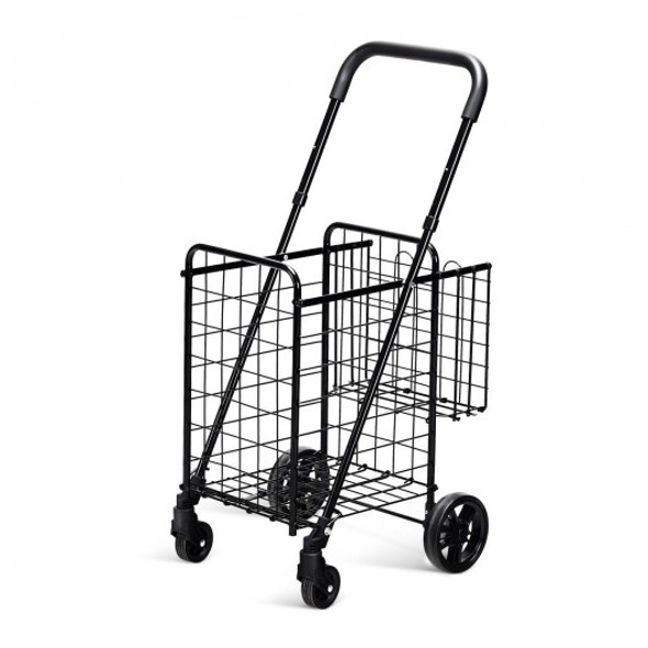 Folding Shopping Cart Basket Rolling Trolley with Adjustable Handle-Black