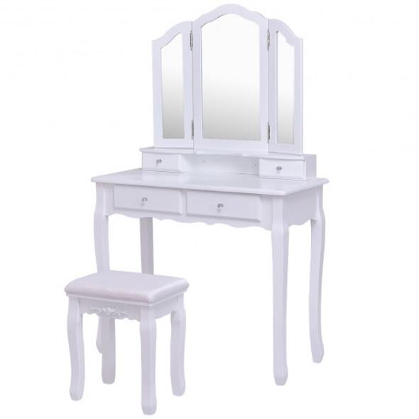 Tri Folding Mirror Vanity Table Stool Set with 4 Drawers-White