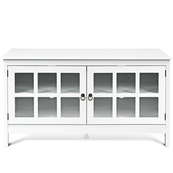 """50"""" TV Stand Modern Wood Storage Console with 2 Doors-White"""