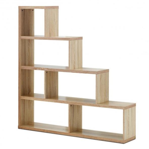 6 Cubes Ladder Shelf Corner Bookshelf Storage Bookcase-Natural