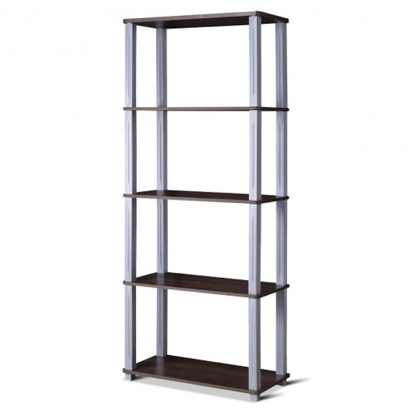 5-Tier Multi-Functional Storage Shelves Rack Display Bookcase-Coffee