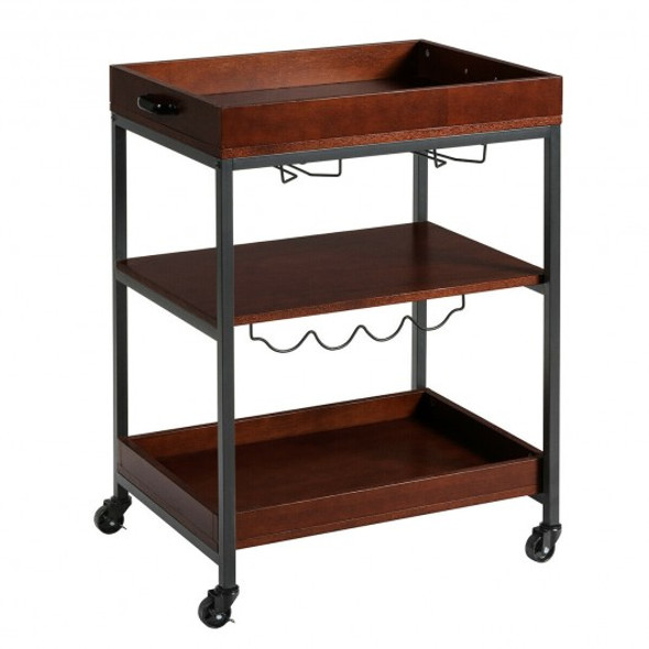 3 Tier Trolley Cart Kitchen Island Serving Bar Cart - COHW66266
