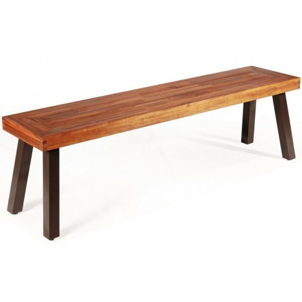 Patio Acacia Wood Dining Bench Seat with Steel Legs