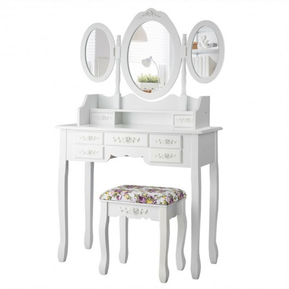 7 Drawer Tri-Folding Mirror Dressing Vanity Makeup Set-White